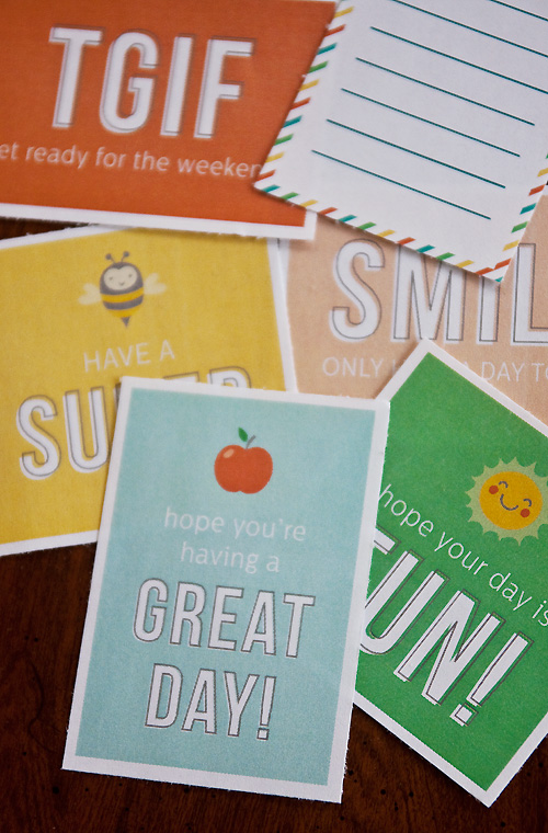 simple and sweet lunch box notes